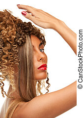 lovely woman with fasionable hair
