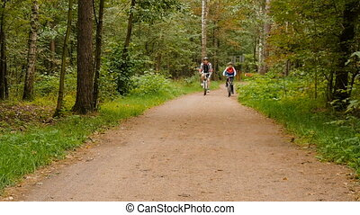Father and son riding bikes in the park. - Father and son...
