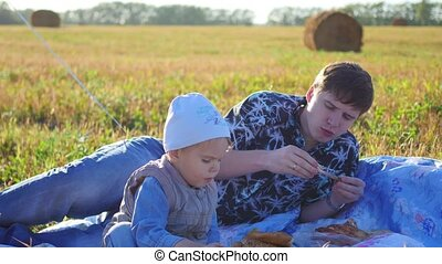 family picnic in the field