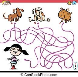 path maze activity cartoon - Cartoon Illustration of...