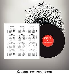 Musical notes buzz around a record album in this 2017...