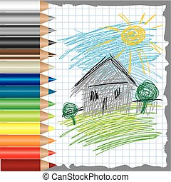 drawing of house and color pencils