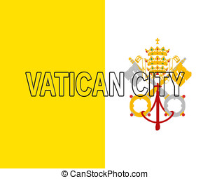 Flag of Vatican City Word - Illustration of the national...