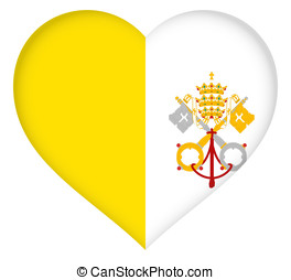 Flag of Vatican City Heart - Illustration of the national...