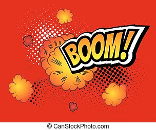 Boom. Vector Retro Comic Speech Bubble Boom, Cartoon Comics...