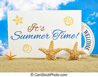 Summer time banner on the beach