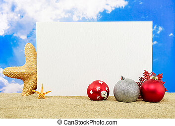 Christmas holiday - Message board with copy space, starfish...