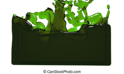 turbulent green liquid filling the frame. Oil - turbulent...