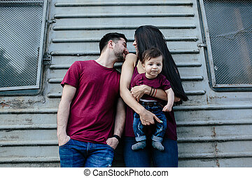 young family with a child - young beautiful family with...