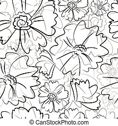 Seamless black floral pattern with flowers