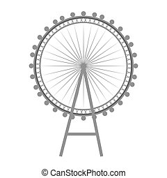 british london eye wheel iconic english monument. vector...