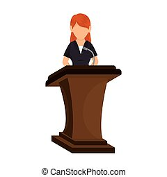 avatar woman in a speech podium wooden - avatar orator woman...