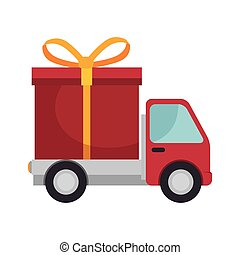 red truck with gift box