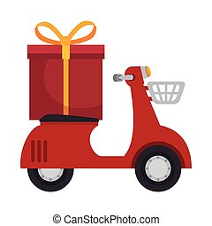 red scooter with gift box