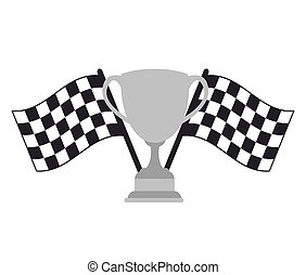 checkered flags design - checkered flags and metal trophy...
