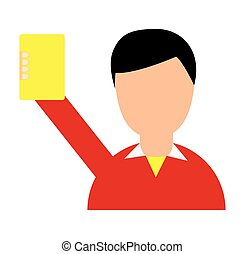 referee soccer yellow card vector illustration design