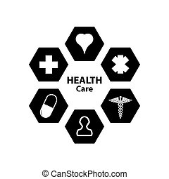 Health tech background with medical icons.