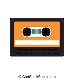 retro audio cassete tape with orange label vector...