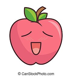 pink apple fruit with expression face and green leaf kawaii...