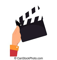 hand holding a clapboard