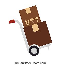 delivery hand cart with boxes - delivery hand cart with...