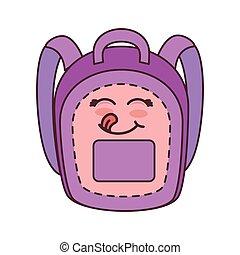 school backpack cartoon - pink and purple school backpack...