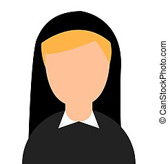 nun woman character religion vector illustration design