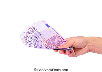 Female hand giving euro banknotes