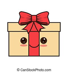 kawaii cartoon gift box with happy face smiling and red...