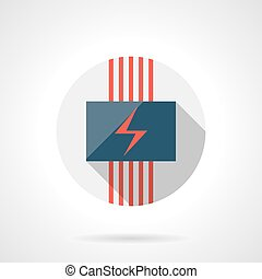 Electrical heating round flat design vector icon - Panel...