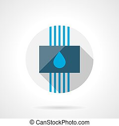 Water system round flat design vector icon - Panel with blue...