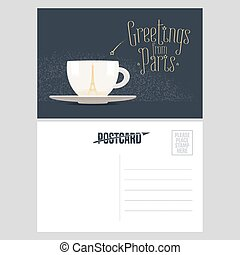 France, Paris vector postcard design with cup of coffee