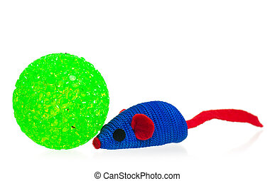 Bright toy mouse - Toy mice for little kitten isolated on...