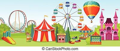 Amusement Park Concept - Amusement park concept of extreme...