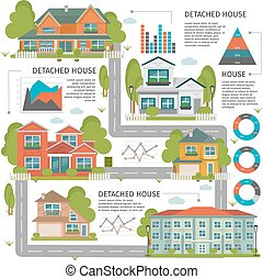 Buildings Flat Infographics - Colored buildings flat...