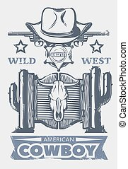 Wild West Print - Wild west print or poster with American...