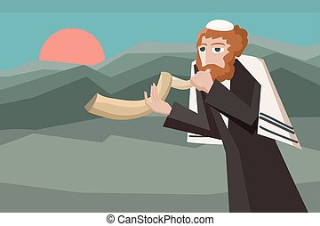 jew blowing the shofar - vector cartoon illustration for...