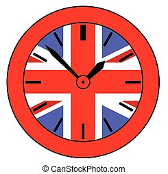 Union Jack Clock - A typical clock face without numbers and...