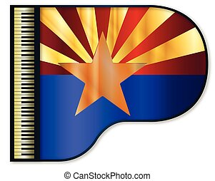 Grand Piano Arizona Flag - The Arizona flag set into a...
