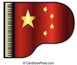 Grand Piano Chinese Flag - The Chinese flag set into a...