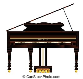 Old Grand Piano - A very old grand piano over a white...