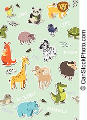 seamless wallpaper for children. vector illustration of funny animals
