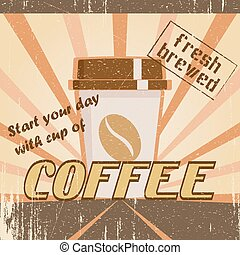 Vintage poster with a coffee cup