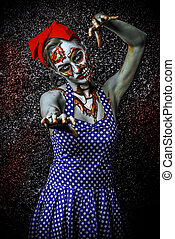 attack of zombie - Frightening pin-up zombie girl over dark...
