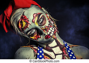 theater greasepaint - Frightening pin-up zombie girl over...