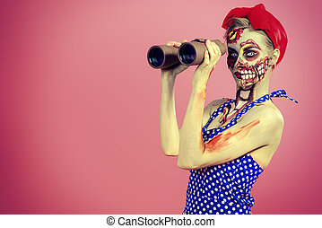 looking for victim - Portrait of a pin-up zombie woman...