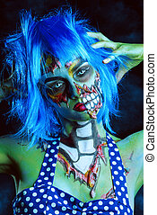glamorous girl zombie - Fashionable zombie girl. Portrait of...
