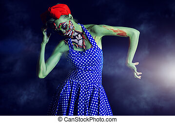ugly zombie - Frightening pin-up zombie girl over dark...