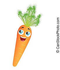 carrot vegetable character cute icon vector isolated graphic