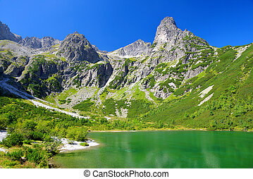 Mountain lake Zelene pleso - Beautiful summer landscape....